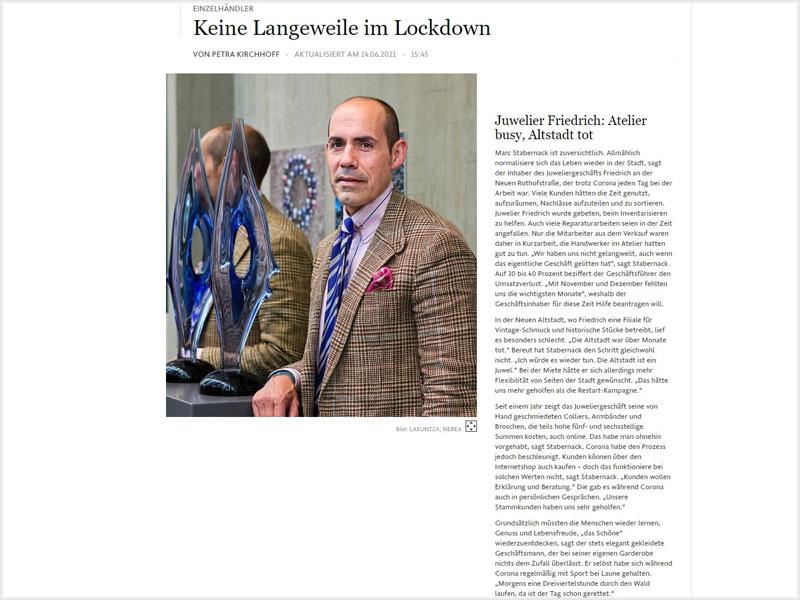 Frankfurter Allgemeine Zeitung: Foto Marc Stabernack, Inhaber Juwelier Friedrich/Frankfurt M.